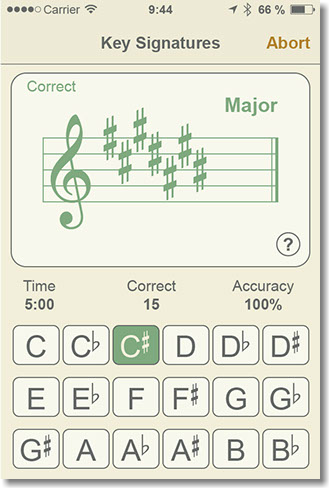 Quiz page of the Key Signatures module.
